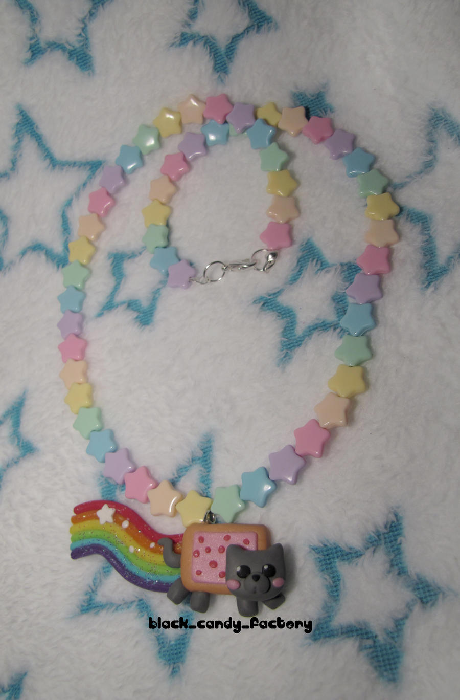 Rainbow Nyan Cat Necklace by gothic-yuna
