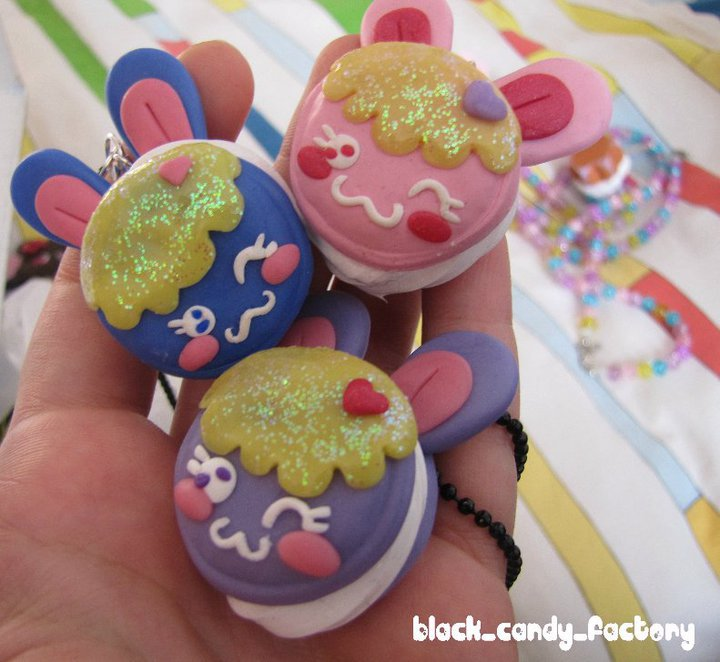 Cute bunny macaroon necklaces by gothic-yuna