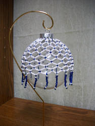 White and Blue Victorian Beaded Ornament