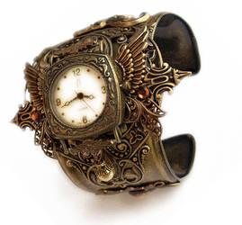 Steampunk Watch Cuff - Floral by Aranwen