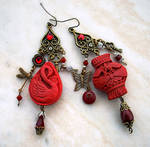 Oriental Cinnabar Earrings 1