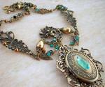 Emerald Dragon Golden Amulet 2 by Aranwen