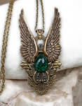 Dark Angel Pendant Gold Green1