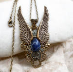 Dark Angel Pendant -Gold Blue1