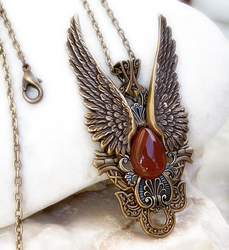 Dark Angel Pendant -Gold Red by Aranwen