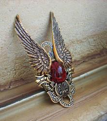 Dark Angel Ring -Gold Red by Aranwen