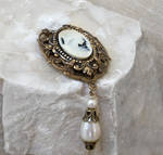Brass and Cameo Brooch