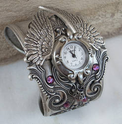 Silver Winged Cuff Watch by Aranwen