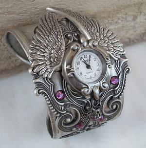 Silver Winged Cuff Watch