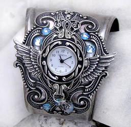 Steampunk Watch -Silver + Aqua by Aranwen