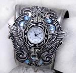 Steampunk Watch -Silver + Aqua