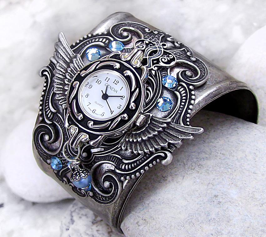 Steampunk Watch -Silver+Aqua 2 by Aranwen