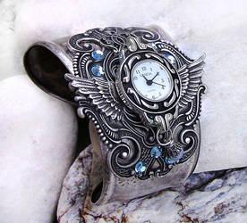 Steampunk Watch -Silver+Aqua 3