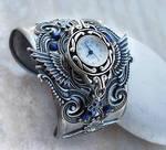 Steampunk Watch -Silver + Blue by Aranwen