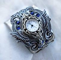 Silver Cuff Watch - Blue 2