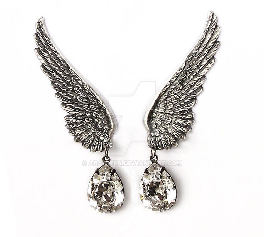Wings Clip on Earrings w/ Swarovski Crystal by Aranwen