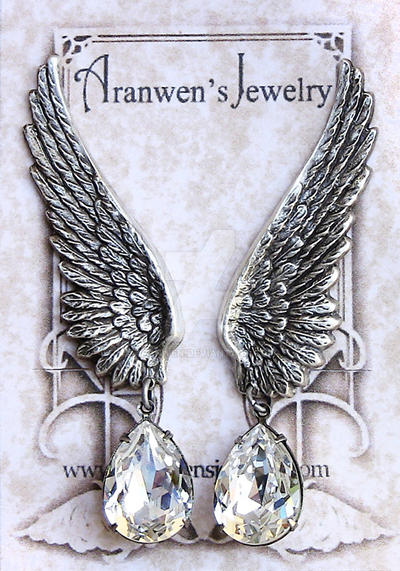 Wings Earrings w/ Swarovski Crystal by Aranwen