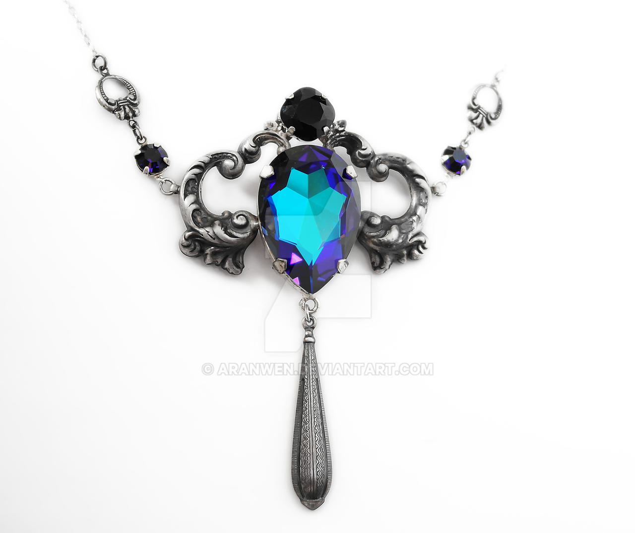 Blue Swarovski Necklace by Aranwen