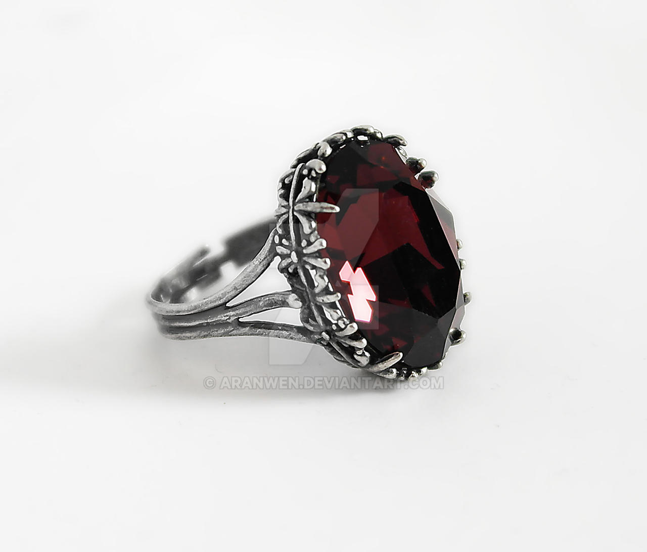 Dark Silver Ring in Burgundy by Aranwen