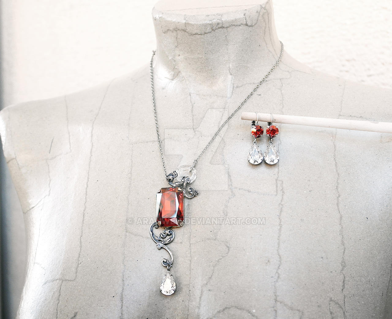 Red Crystal Necklace and Earrings Set by Aranwen
