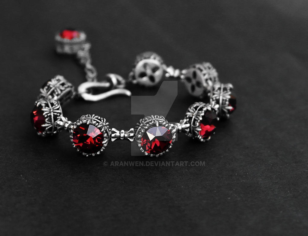 Burgundy Gothic Bracelet by Aranwen