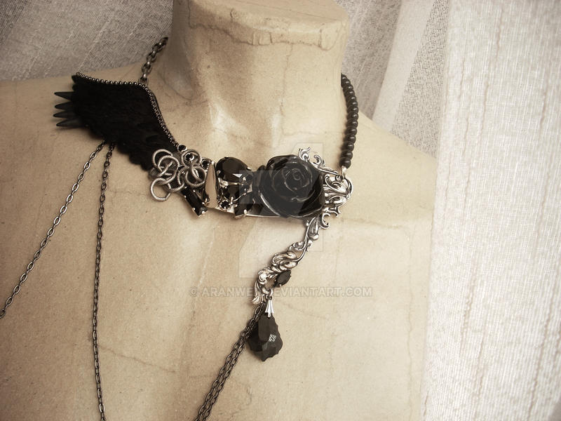 Black wing rose and spikes necklace by Aranwen