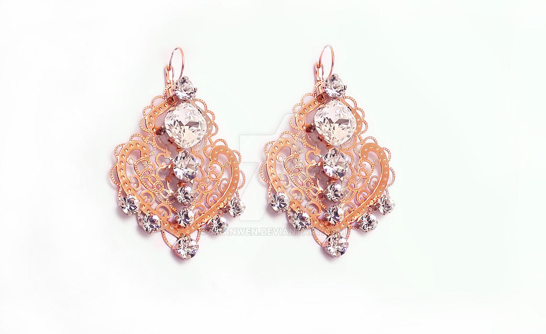Rose Gold Earrings by Aranwen