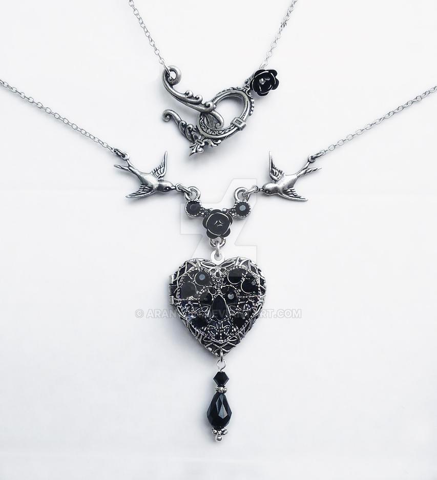 Black Swarovski Heart Locket by Aranwen