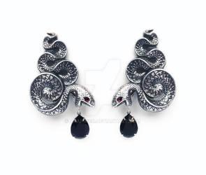 Gothic Silver Snake Earrings