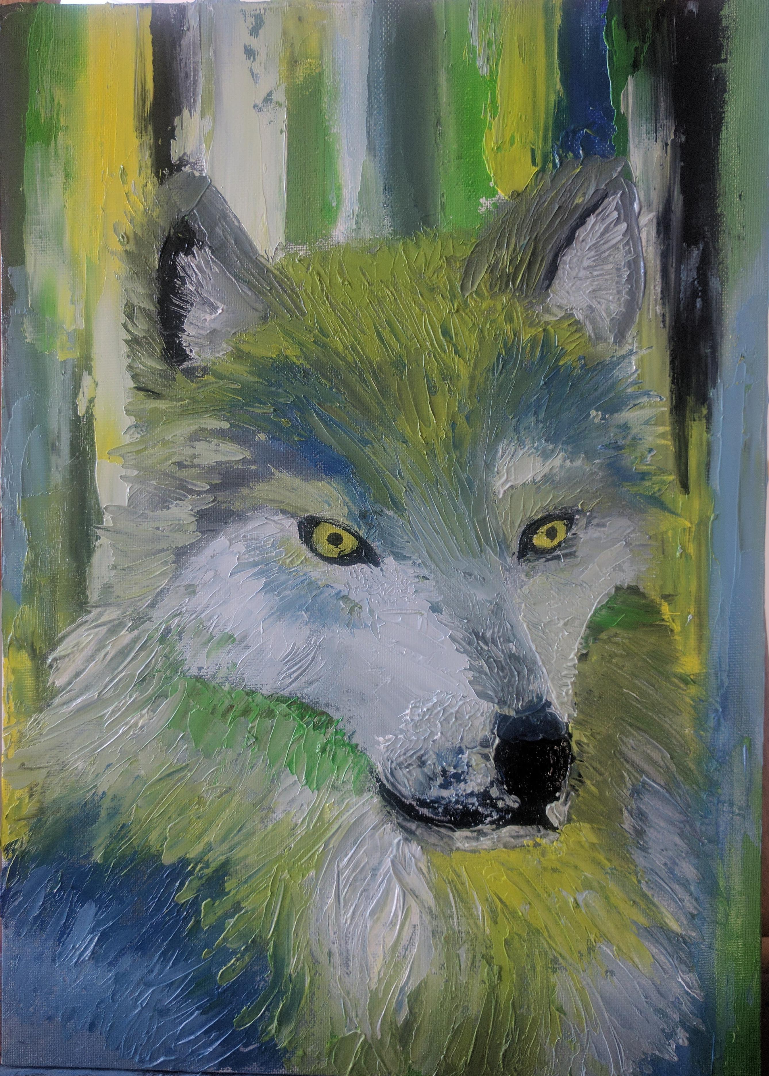 Wolf expresive impasto portrait by EternityArtist