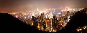Hong Kong City Night Lights by starlitwish