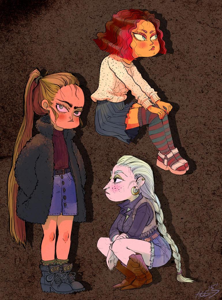 three girls by Duivelsdraak
