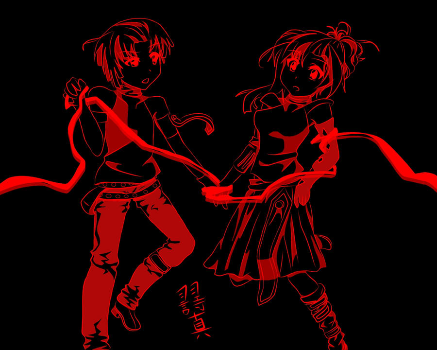 Black and red science fiction anime girl and boy by - Red and black anime ...
