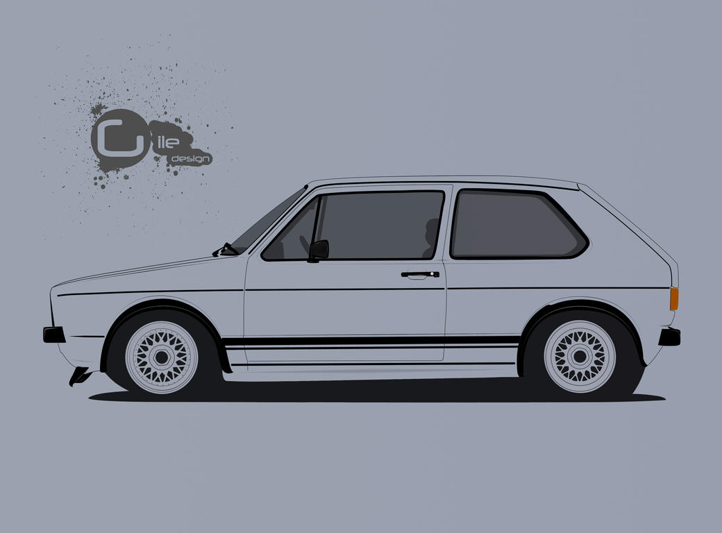 VW Golf mk1 (VW Golf series line art) by TheGiLe