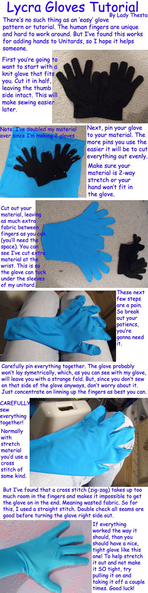 Lycra Glove Sewing Tutorial by ladythesta