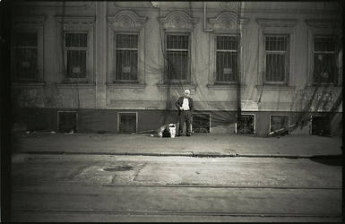 Lonely man on the street by alpauk