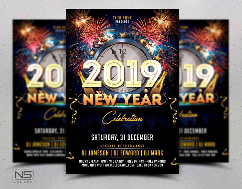 New Year Flyer Template by nsdesigns89