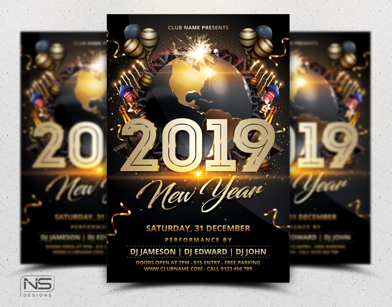 New Year Party Flyer Template by nsdesigns89