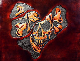 Leather Carved Skull - 002