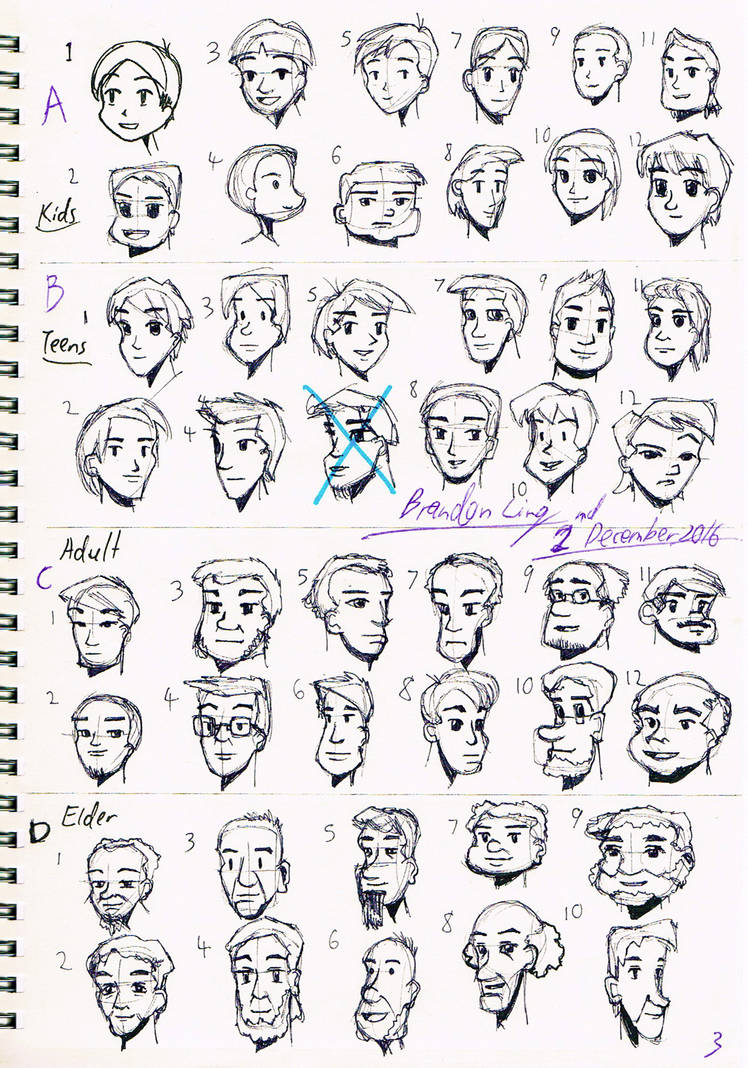 Cartoon character sketches 3 male face by brand 194