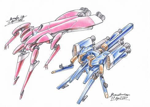 Coloured pencil Racing Mechs