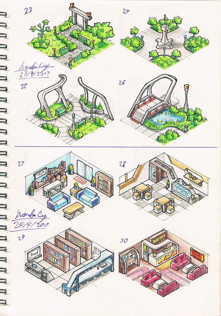 Isometric Landscape sketches- 4 by Brand-194