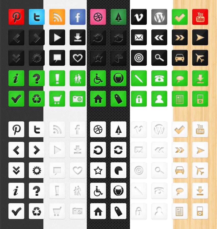 50 Free Die Cut Icons by bestpsdfreebies