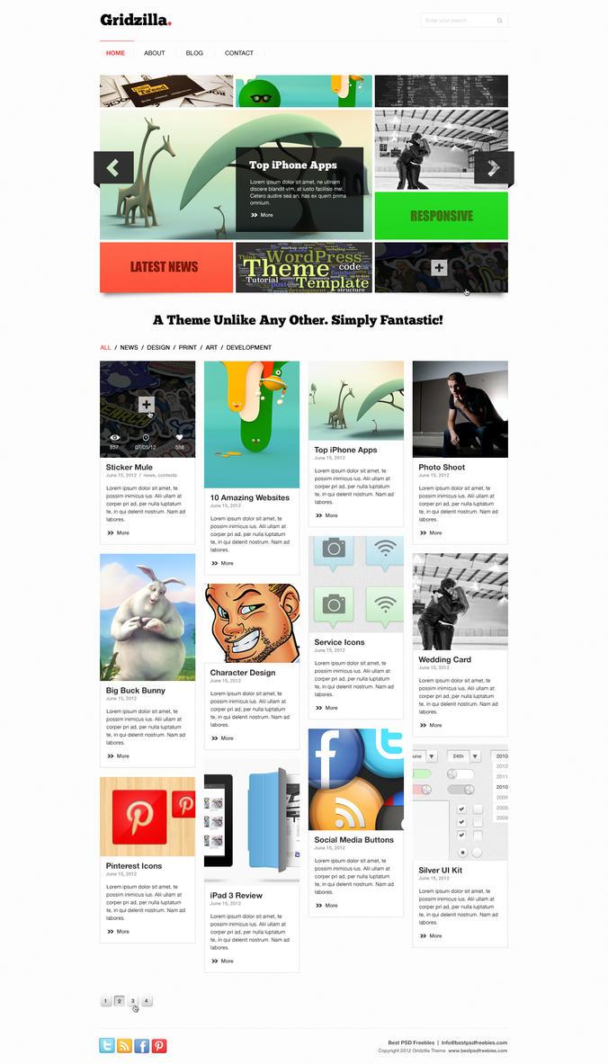 Gridzilla PSD Theme by bestpsdfreebies