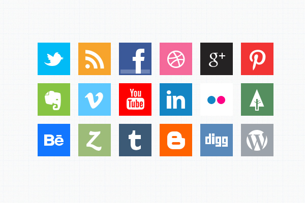 Minimal Social Media Icons by bestpsdfreebies