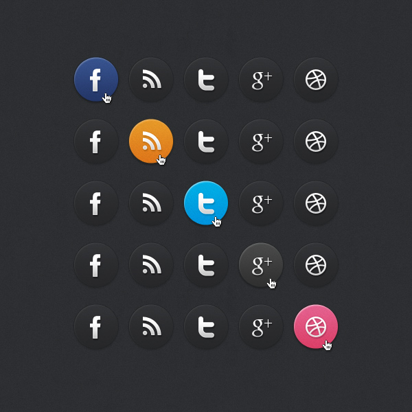 Dark Social Media Icons by bestpsdfreebies