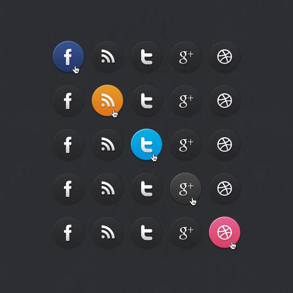 Dark Social Media Icons by bestpsdfreebies
