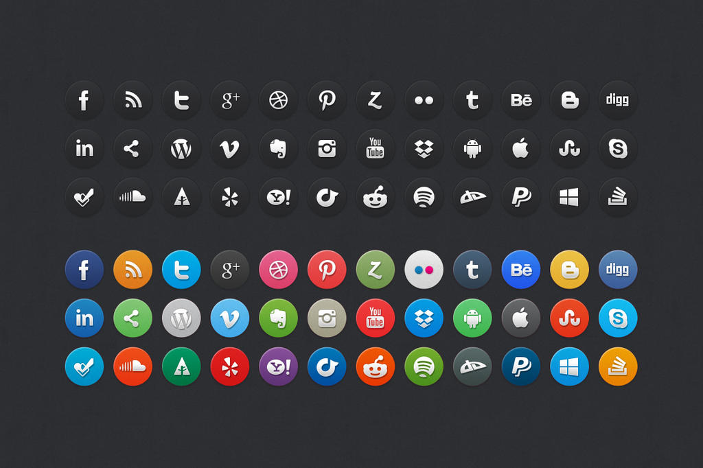 72 Circle Social Media Icons by bestpsdfreebies