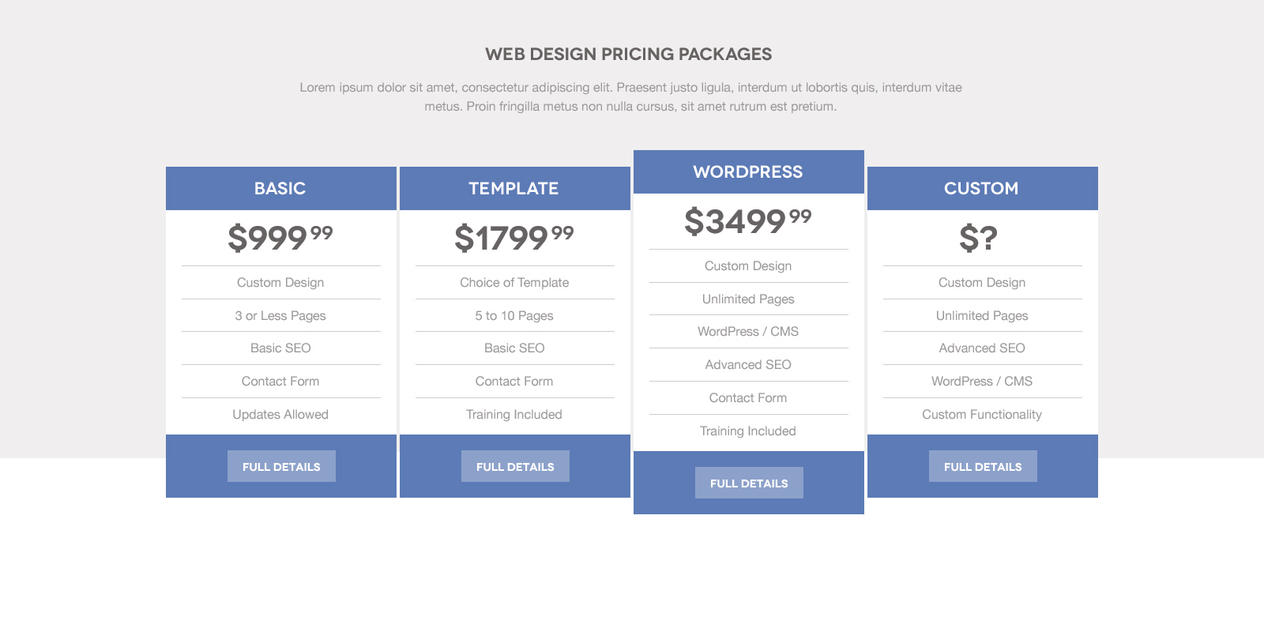 Flat Pricing Table by bestpsdfreebies