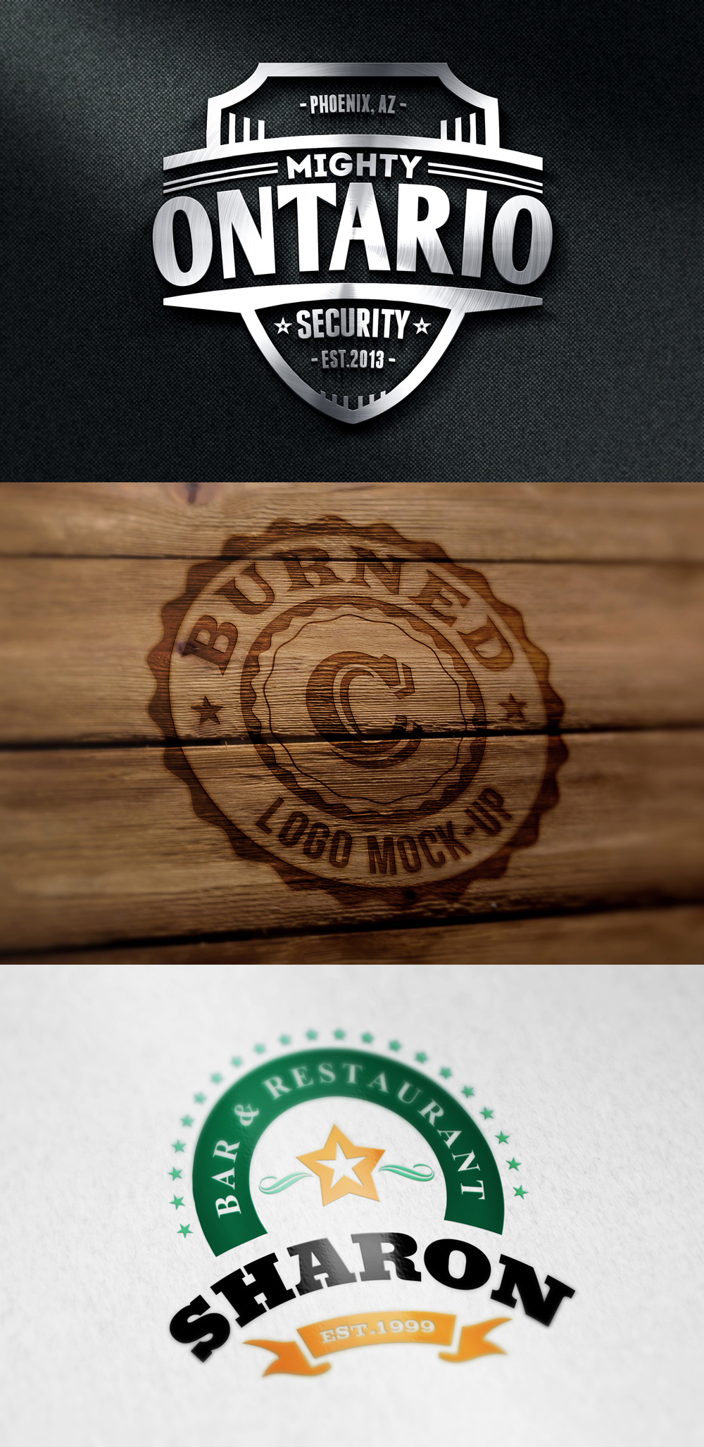 3 Free Photorealistic Logo Mockups by bestpsdfreebies